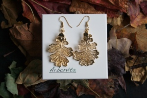 Real Oak leaf earrings