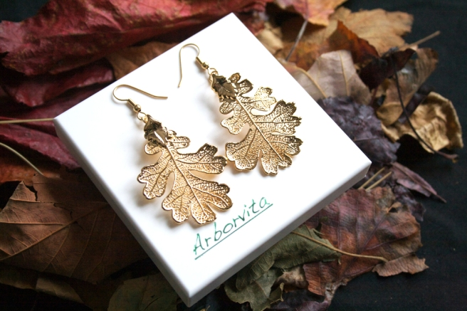 Real Oak leaf gold earrings 5
